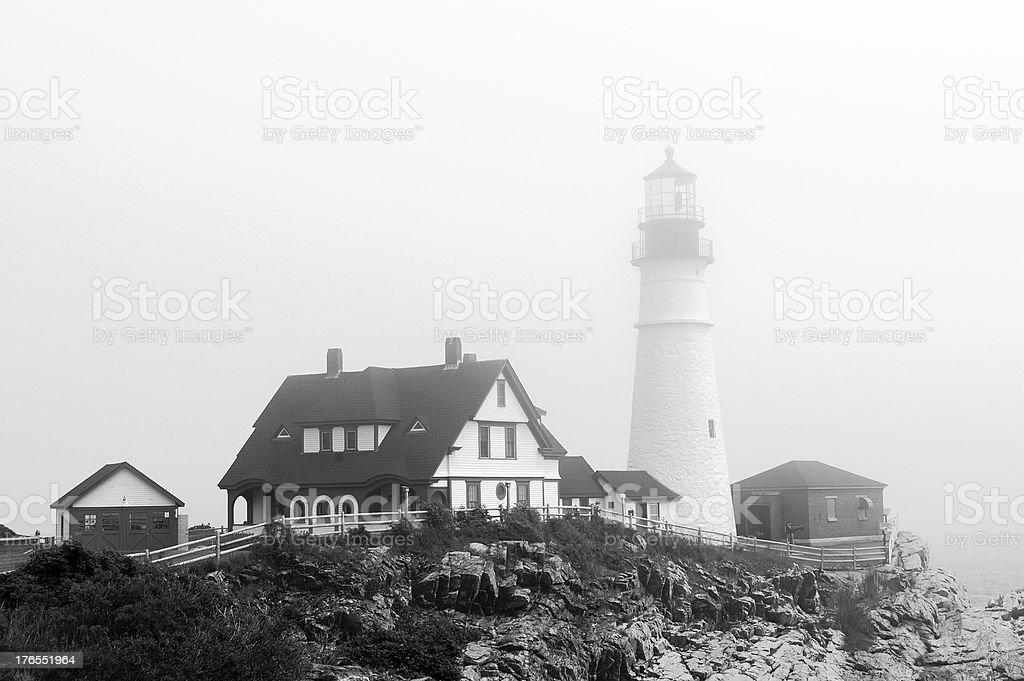Portland Head Lighthouse in Black and White royalty-free stock photo