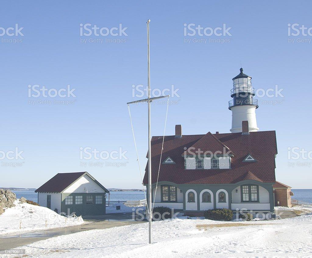 Portland Head Lighthouse in snow stock photo
