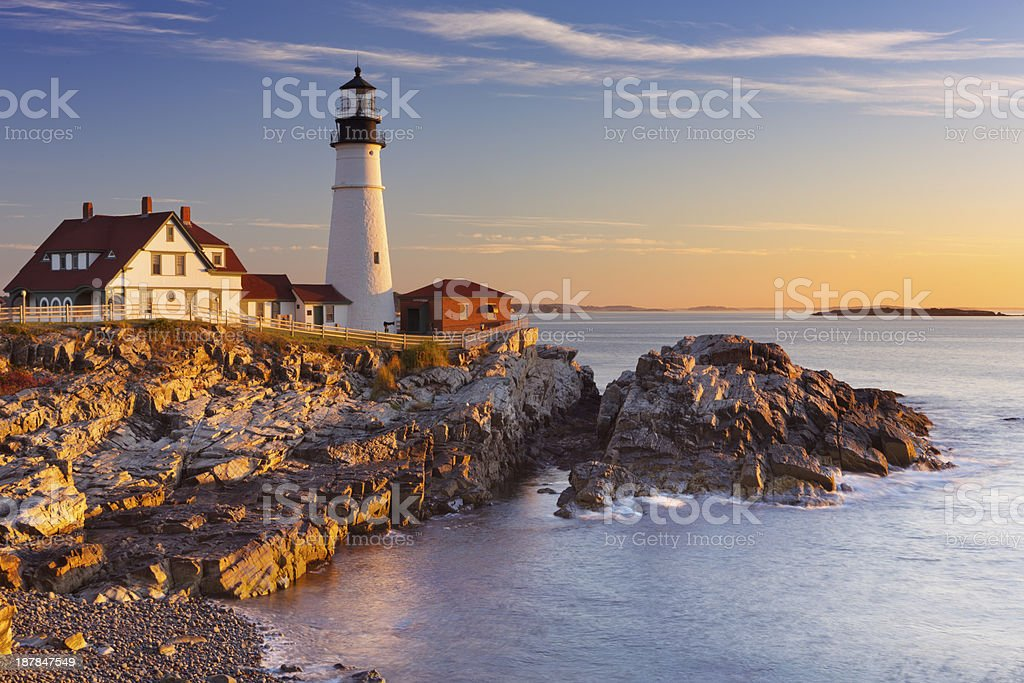 Portland Head Lighthouse, Maine, USA at sunrise stock photo