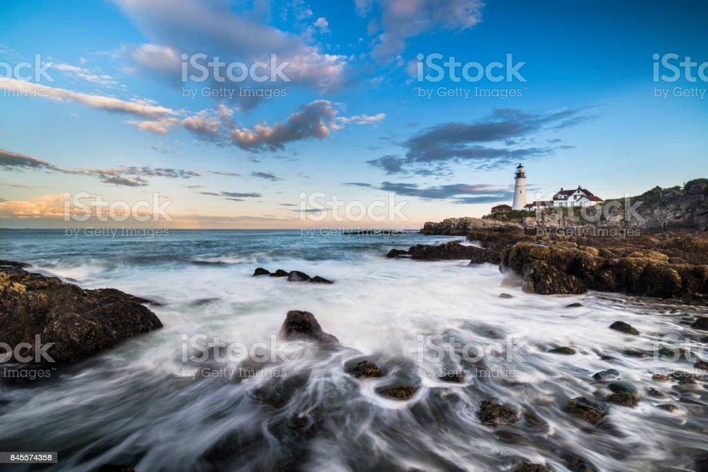 Portland Head Lighthouse, Maine, USA at sunrise stock photo