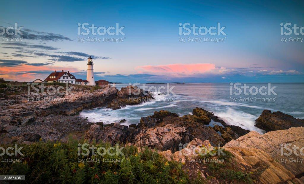 Portland Head Lighthouse, Maine, USA at sunset stock photo