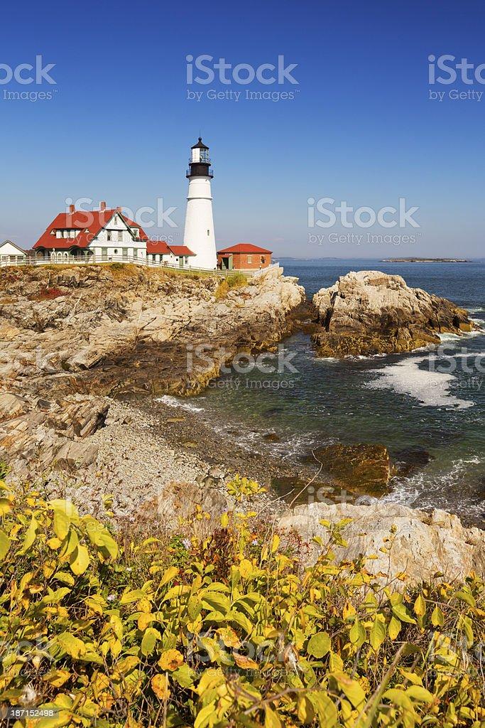 Portland Head Lighthouse, Maine, USA on a sunny day royalty-free stock photo