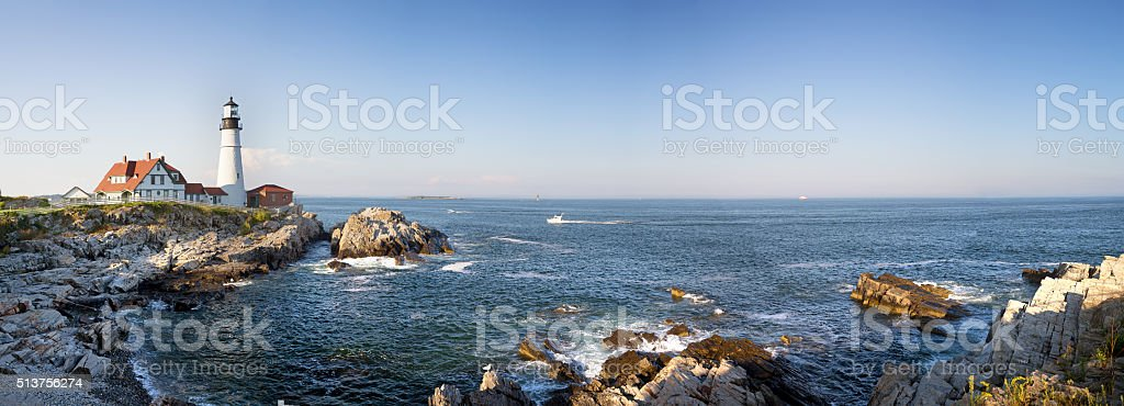 Portland Head Lighthouse panorama stock photo