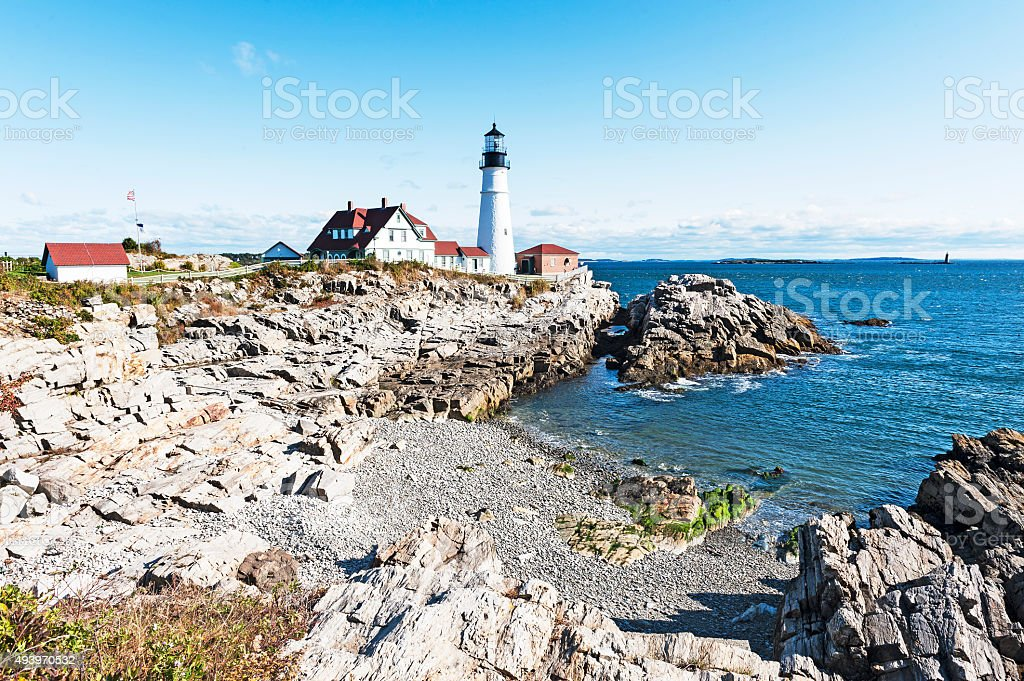 Portland Headlight Cape Elizabeth Maine stock photo