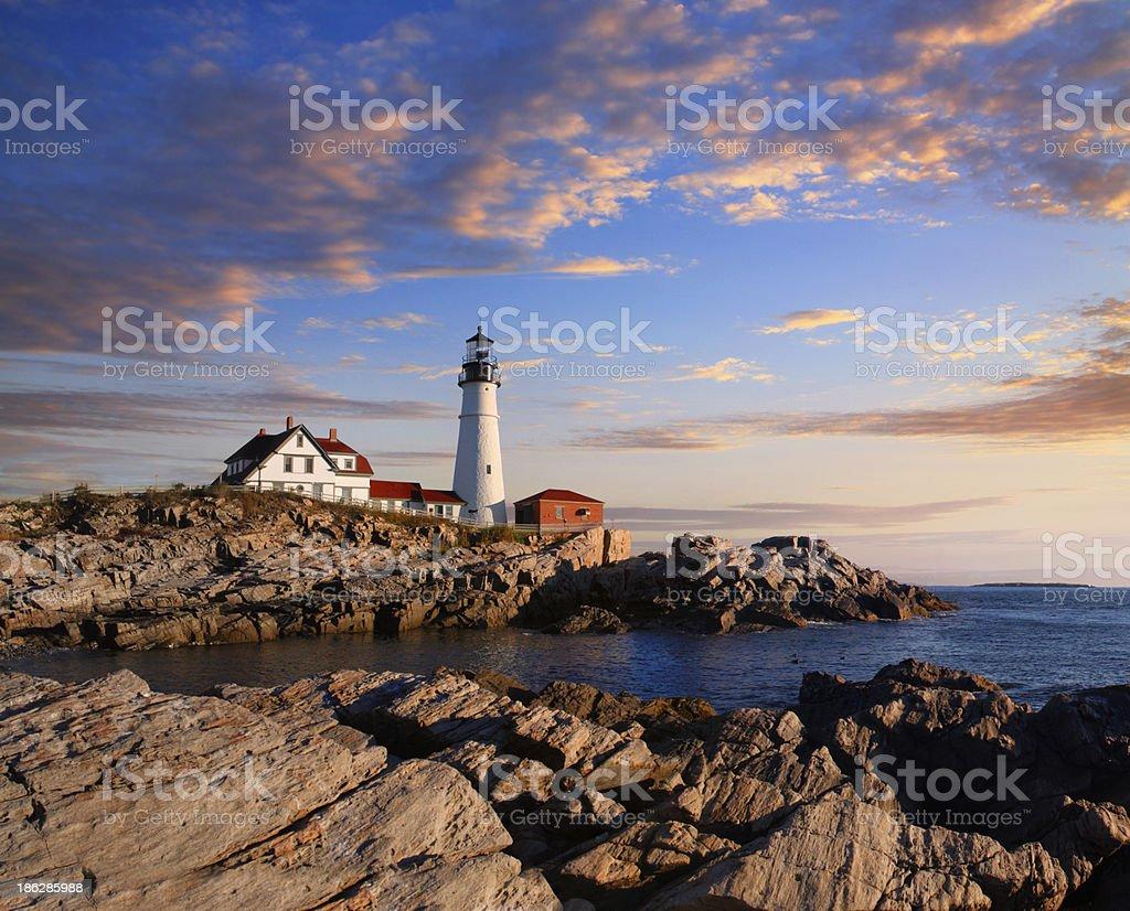 Portland Lighthouse Morning stock photo