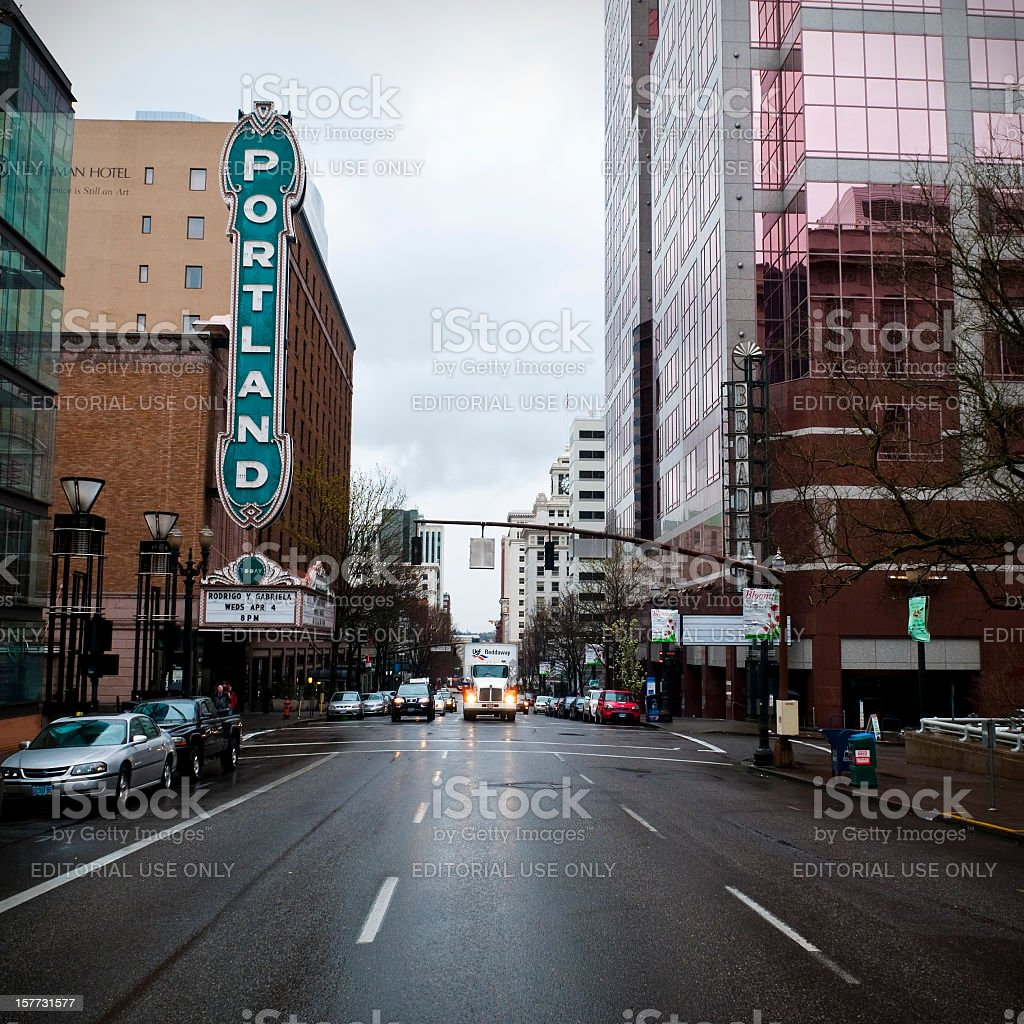 Portland marquee at the Arlene Schnitzer Concert Hall stock photo
