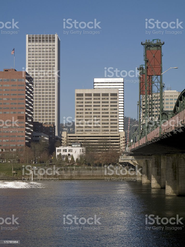 portland oregon and hawthorne bridge stock photo