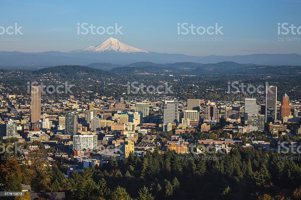 Portland, Oregon and Mount Hood stock photo