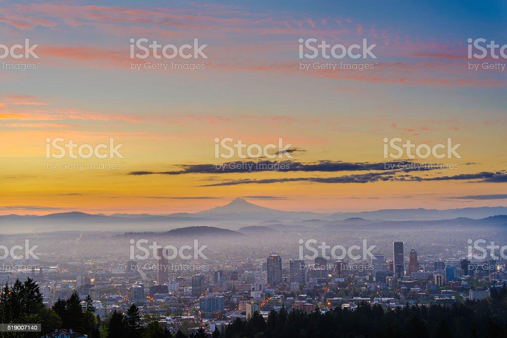 Portland Oregon at dawn stock photo