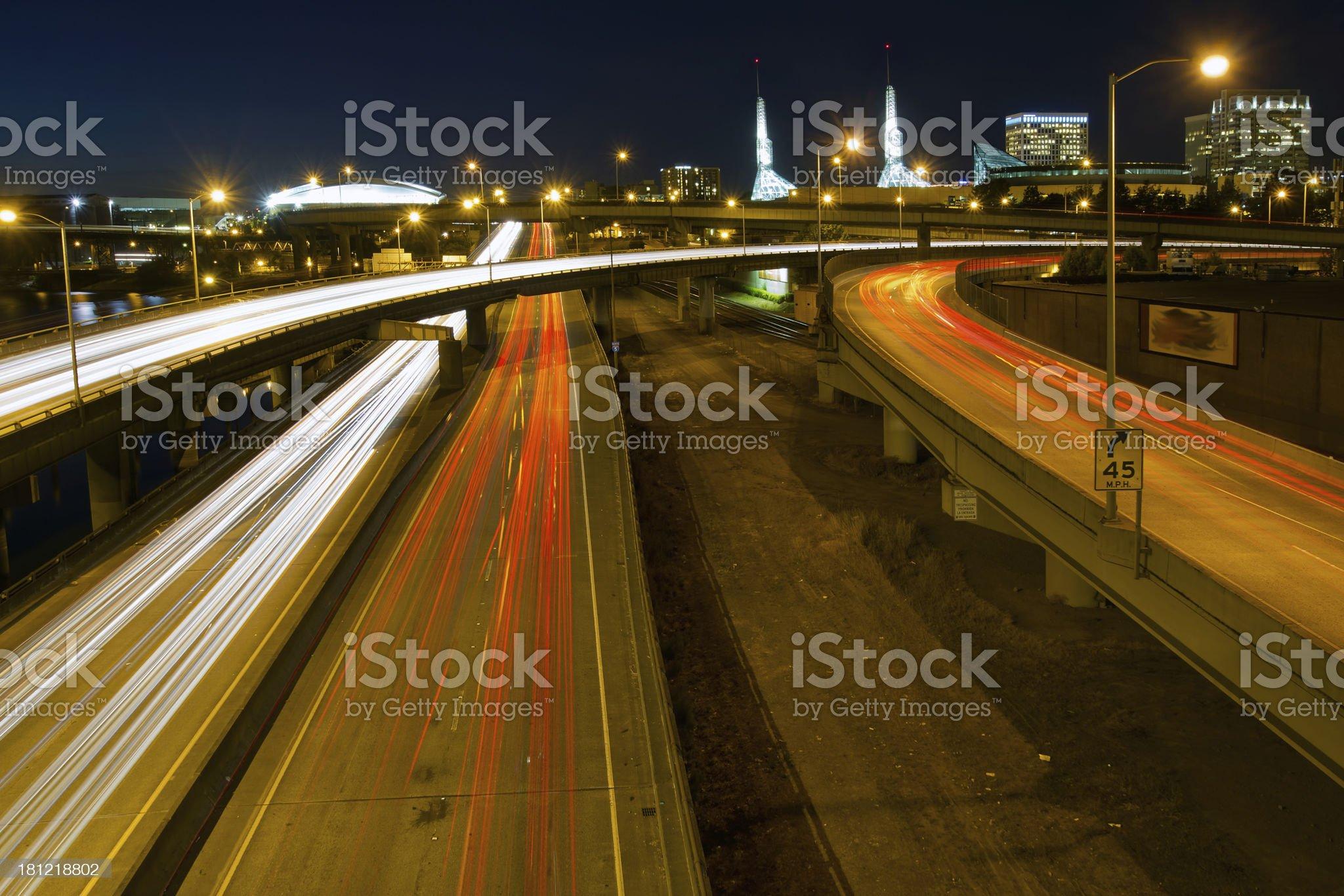 Portland Oregon City Freeway Light Trails at Night royalty-free stock photo