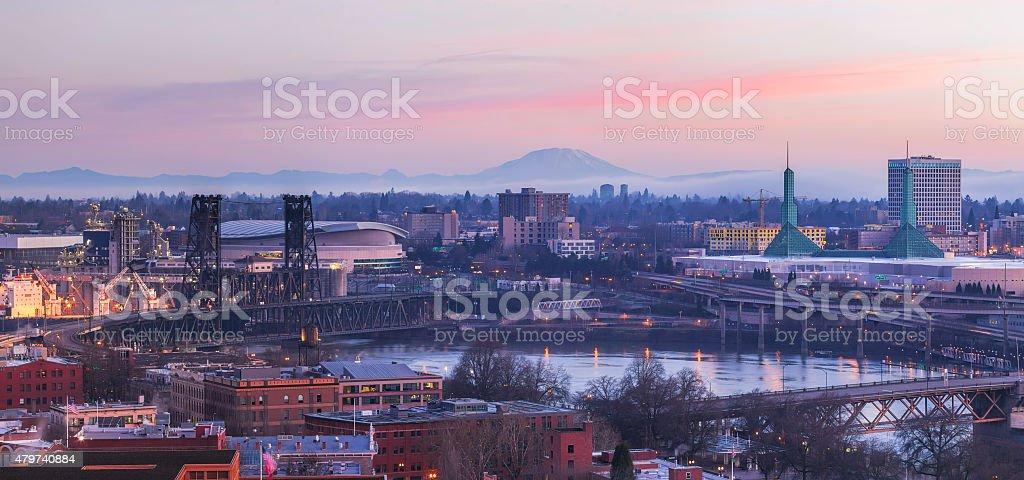 Portland Oregon Cityscape at Sunrise Panorama stock photo