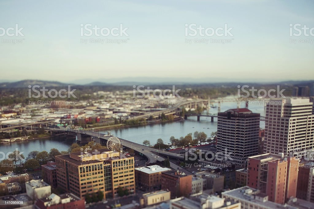 Portland Oregon Cityscape Tilt Shift royalty-free stock photo