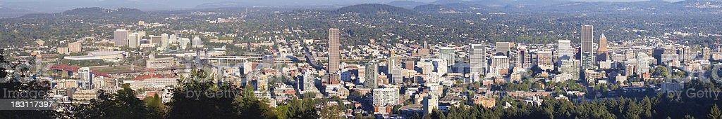 Portland Oregon Downtown Cityscape Panorama stock photo