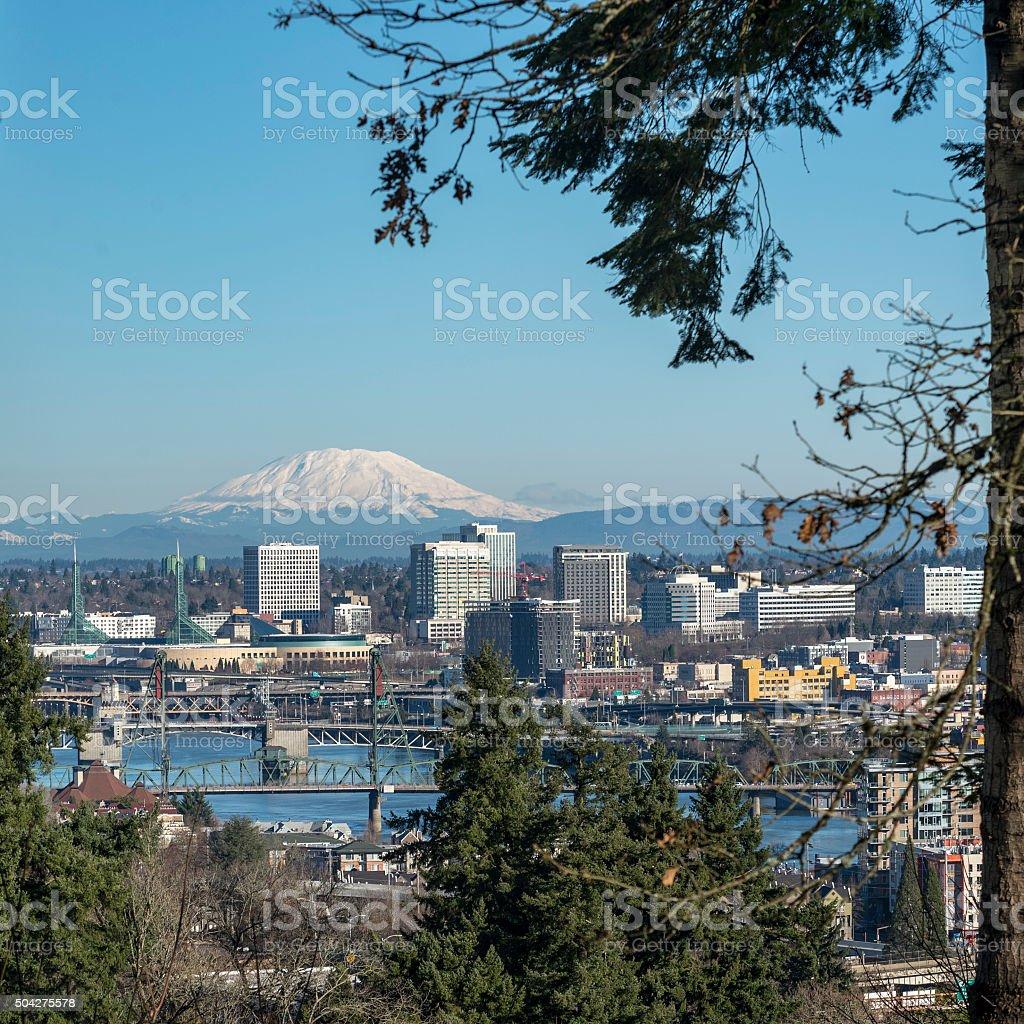 Portland Oregon Downtown Mt St Helens Willamette River Bridges stock photo