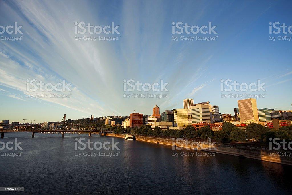 Portland, Oregon Downtown Sunrise royalty-free stock photo