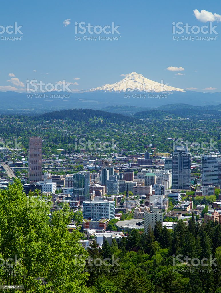 Portland Oregon in spring. stock photo