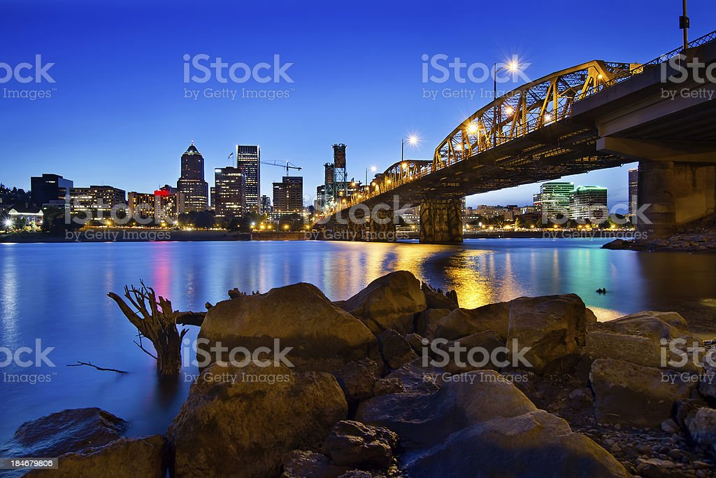 Portland Oregon Skyline at Blue Hour stock photo