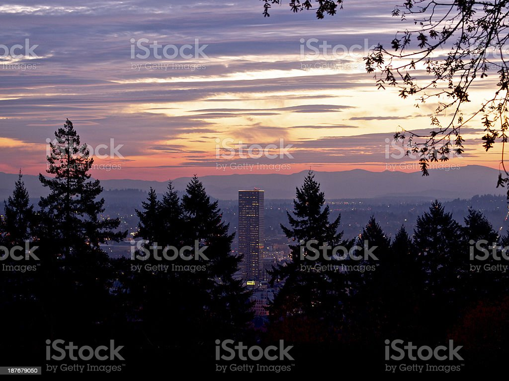 Portland Oregon Skyscrapers Sunrise Sky From Japanese Garden royalty-free stock photo