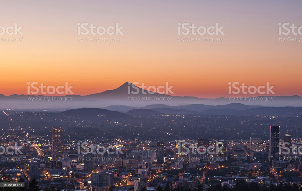 Portland Oregon Sunrise stock photo
