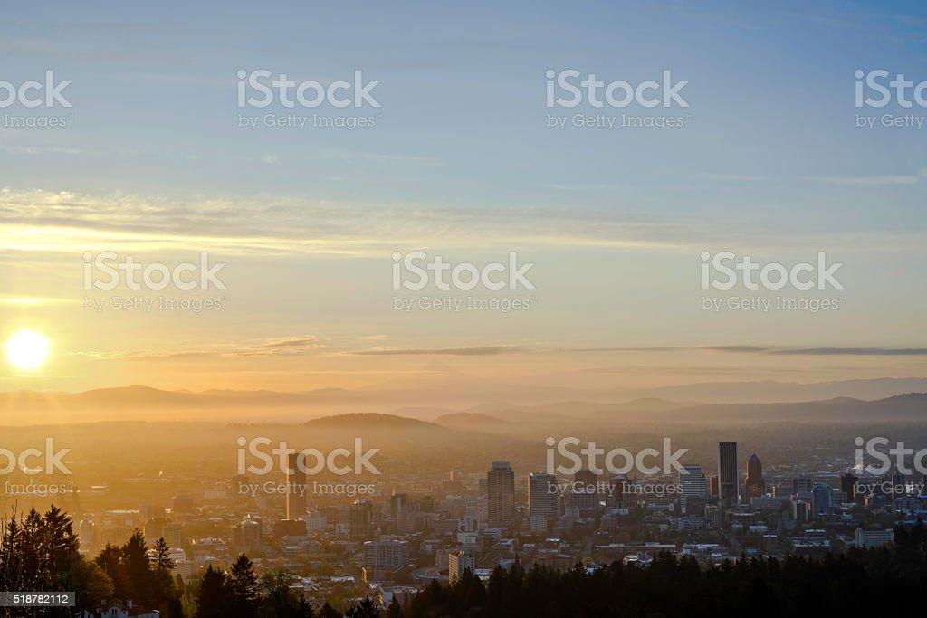 Portland Oregon USA at dawn stock photo