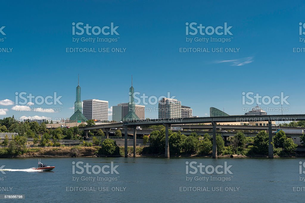 Portland Oregon Willamette River Bridges City Skyscrapers Convention Center stock photo