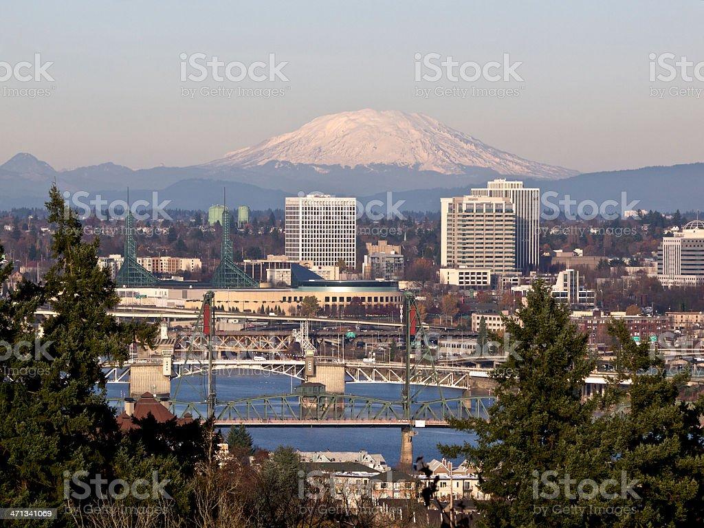Portland Oregon Willamette River Bridges City Skyscrapers Mt St Helens stock photo