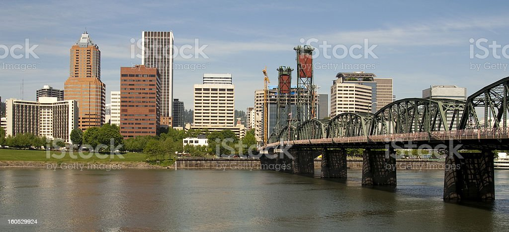 Portland Oregon Willamette River to Downtown includes Hawthorne Bridge royalty-free stock photo