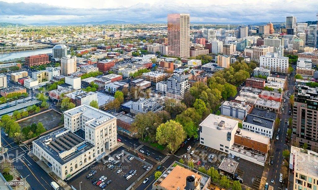 Portland, Oregon's Oldtown (Aerial) stock photo