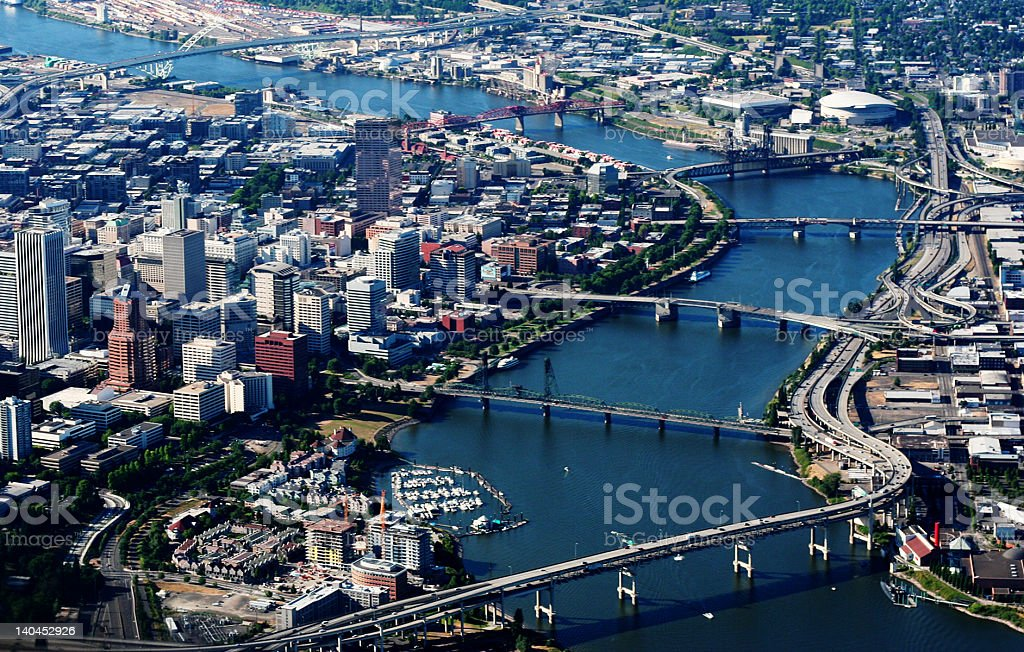 Portland Oregon's River Aerial View stock photo