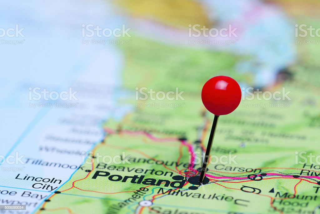 Portland pinned on a map of USA stock photo