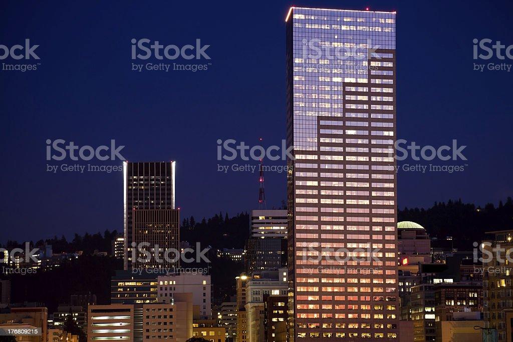 Portland Skyline at Dusk stock photo