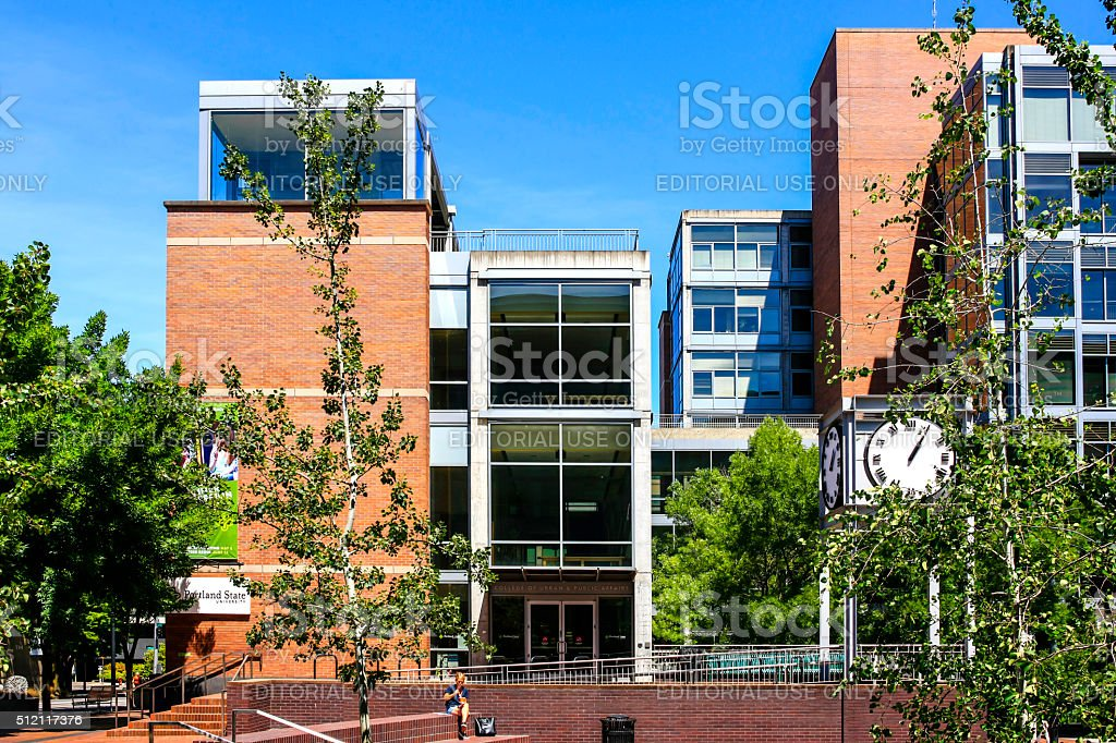 Portland State University buildings in downtown Portland Oregon stock photo