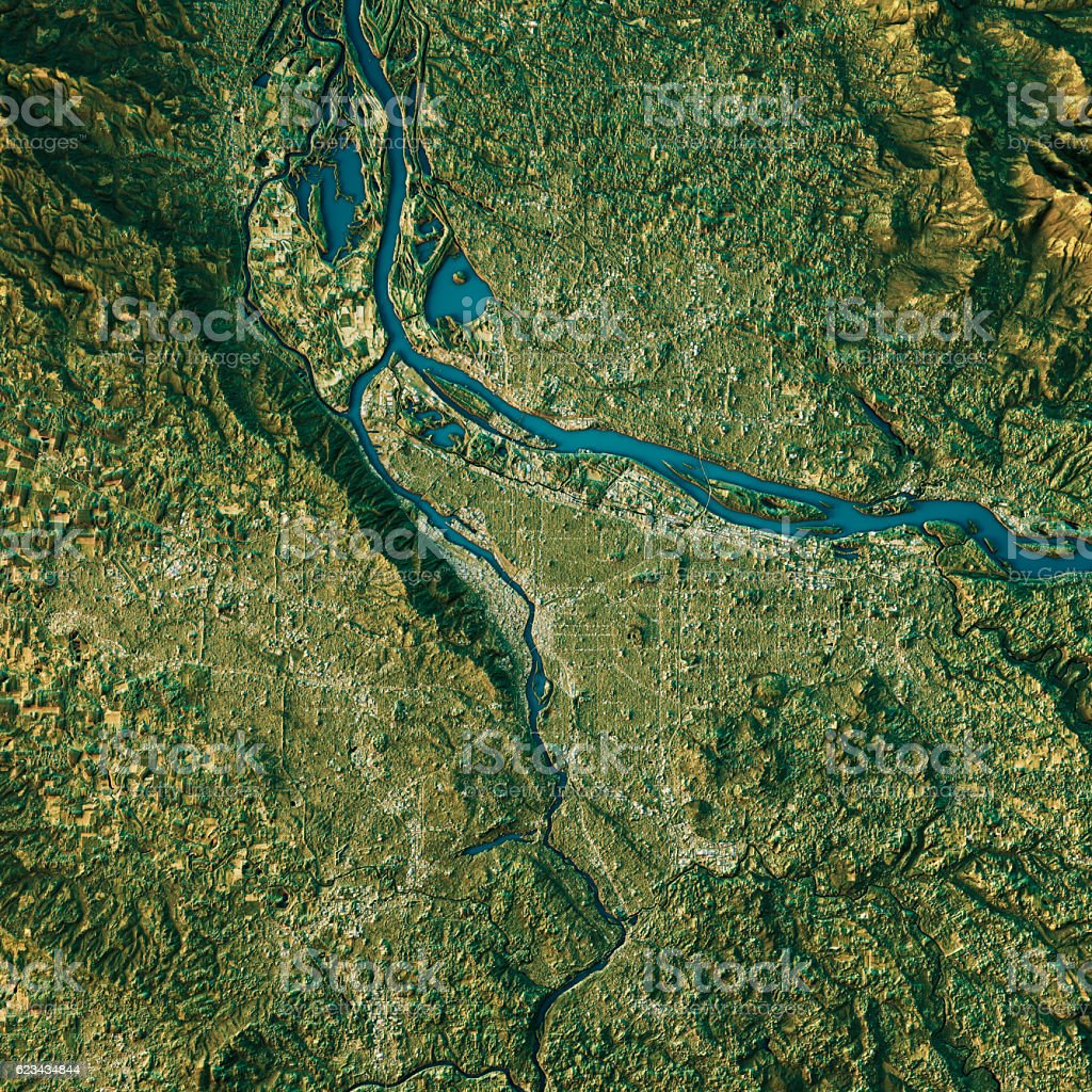 Portland Topographic Map Natural Color Top View stock photo