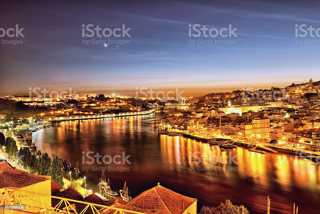 Porto at night stock photo