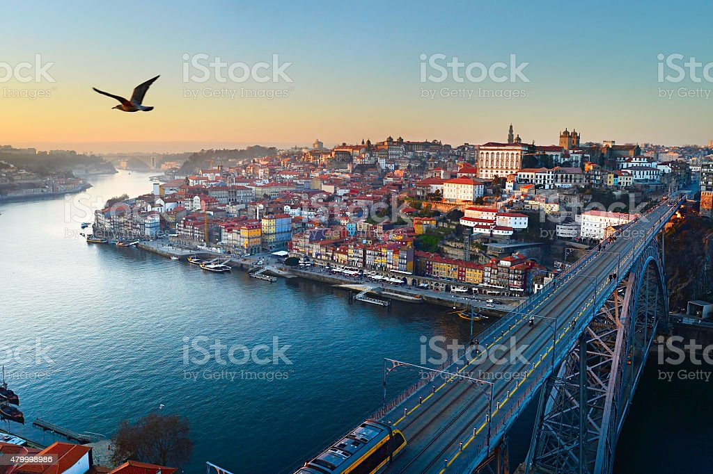 Porto at sunset stock photo