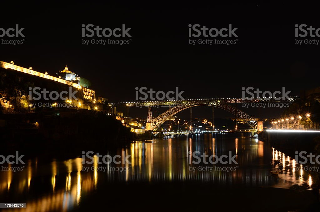 Porto by night, Portugal royalty-free stock photo