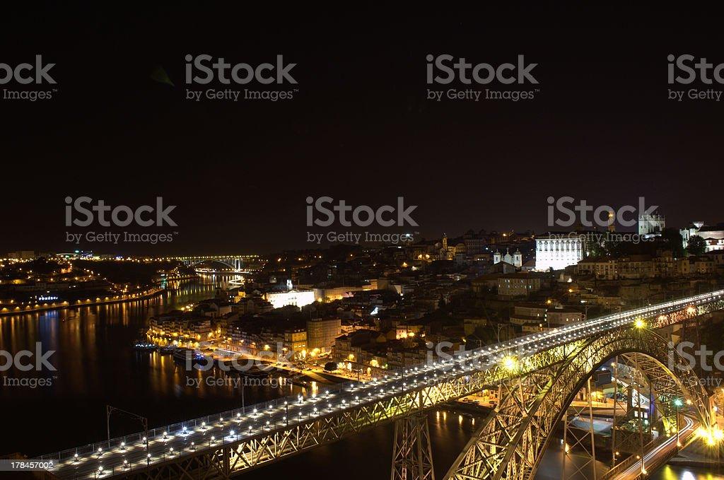 Porto by night, Portugal royalty-free stock photo