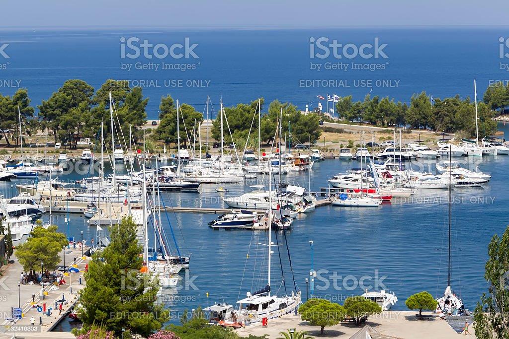 Porto Carras marina with sailboats and fishing boats stock photo