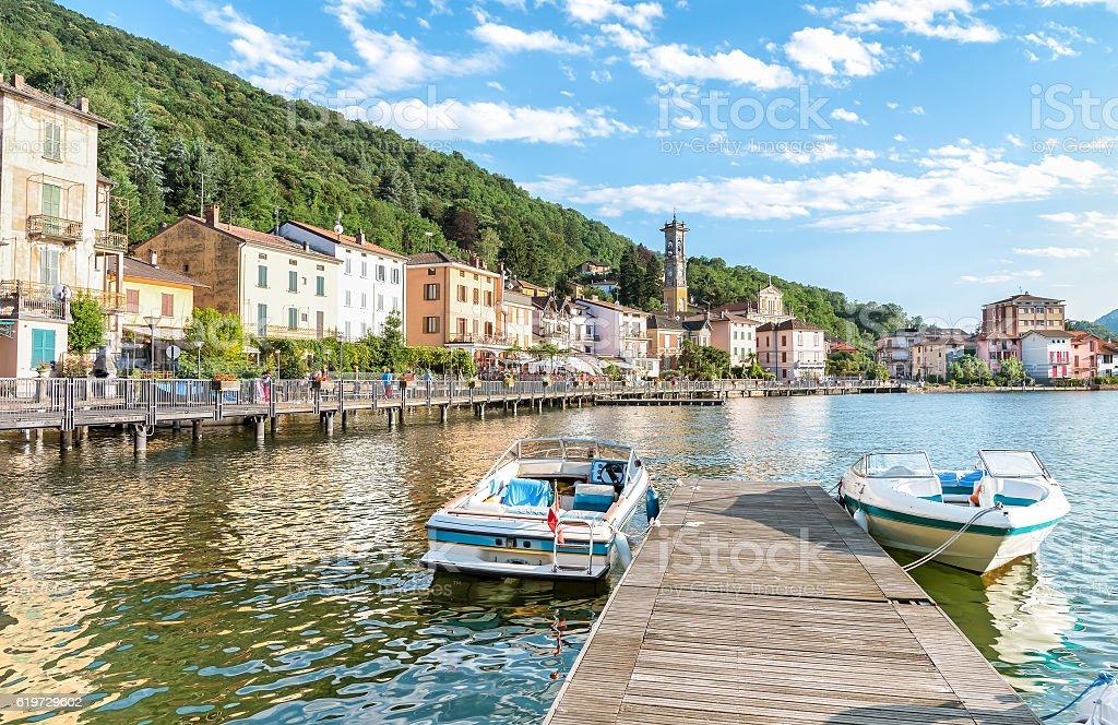 Porto Ceresio province of Varese stock photo