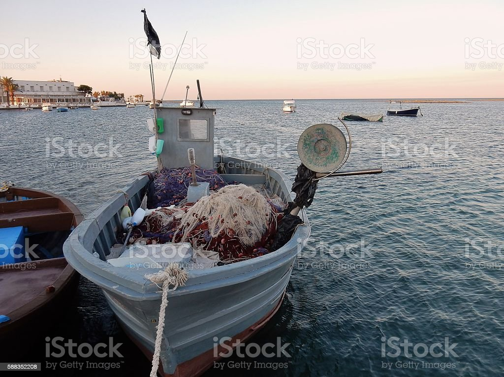 Porto Cesareo - Barca di pescatori stock photo