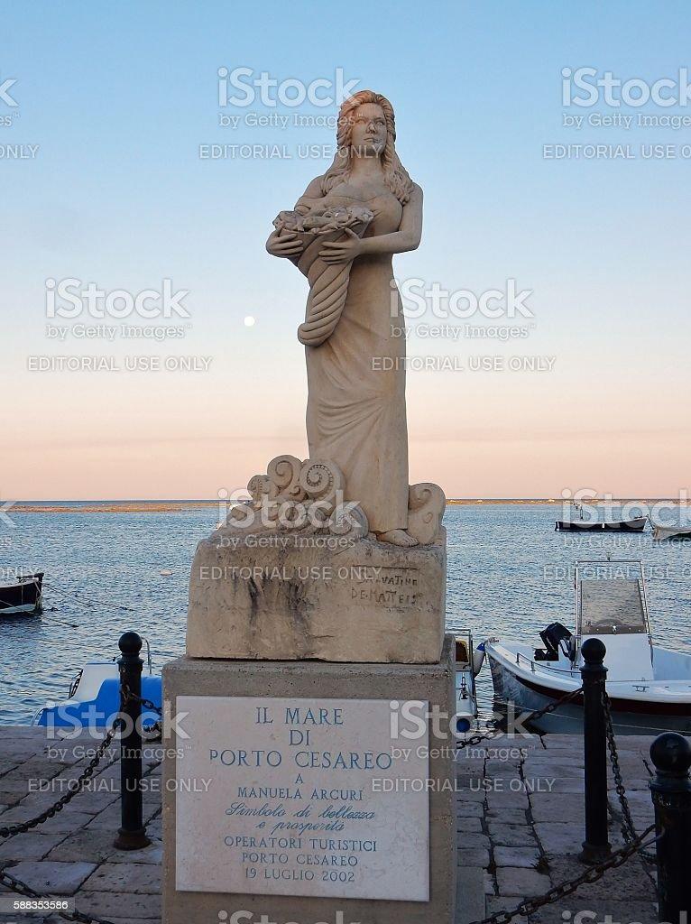Porto Cesareo - Statua a Manuela Arcuri stock photo