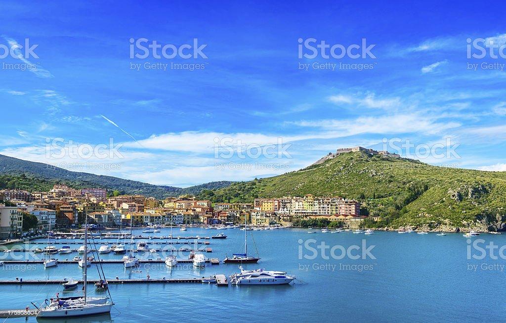 Porto Ercole village and harbor. Aerial view, Argentario, Italy stock photo