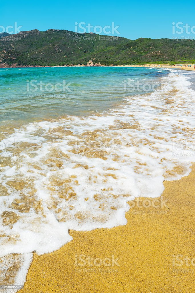 Porto Ferro beach under a clear sky stock photo