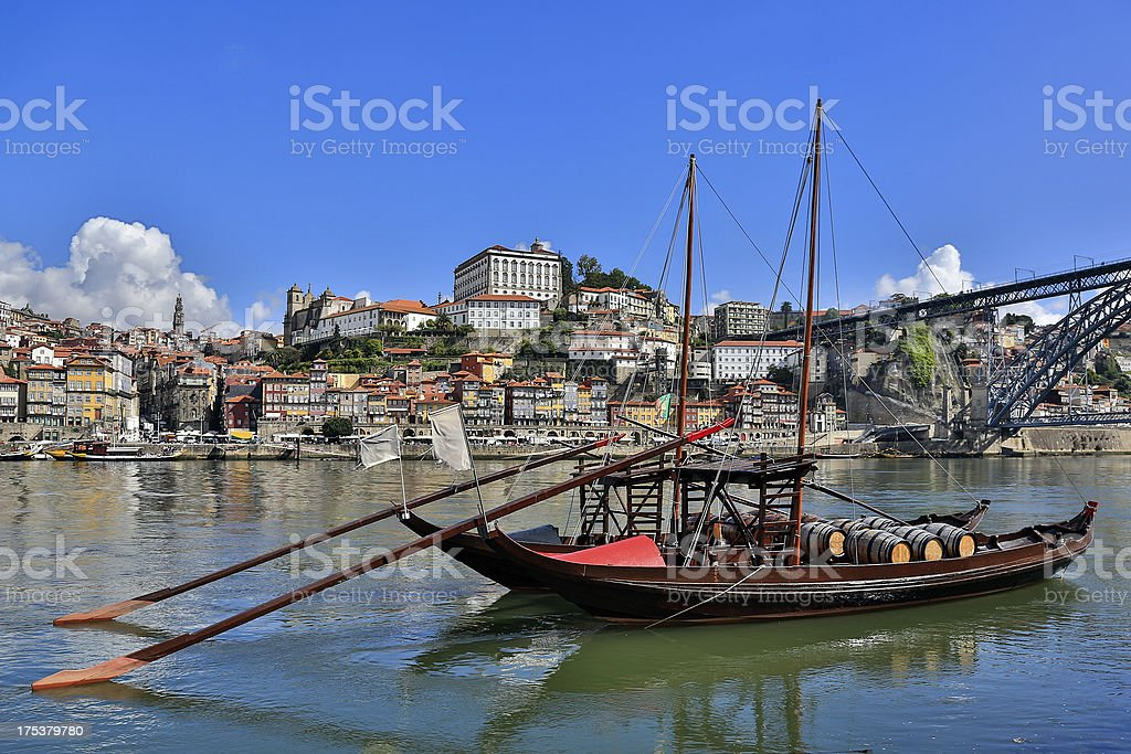 Porto in Morning with Rabelo Boats on Douro River stock photo