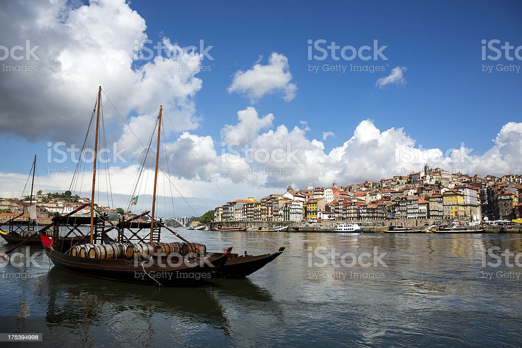 Porto in Morning with Rabelo Boats on Douro River royalty-free stock photo