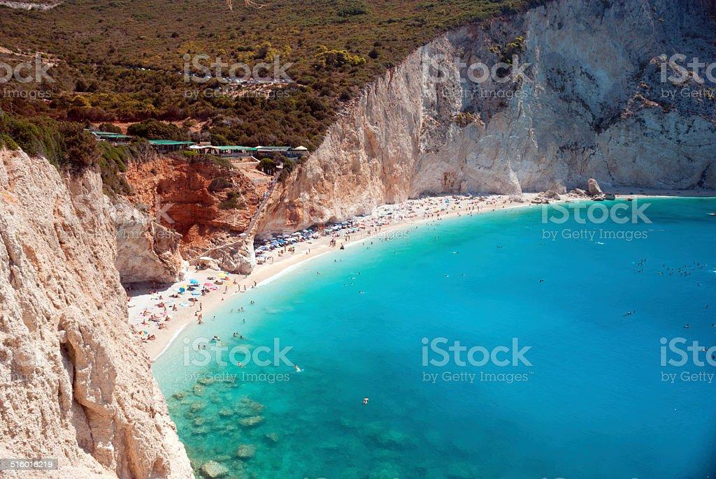 Porto Katsiki beach at Lefkada island, Greece stock photo
