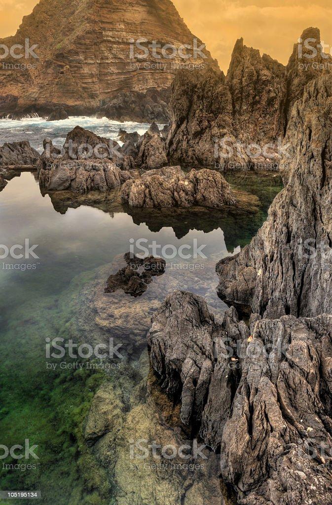 Porto Moniz natural pools, Madeira island,  Portugal royalty-free stock photo
