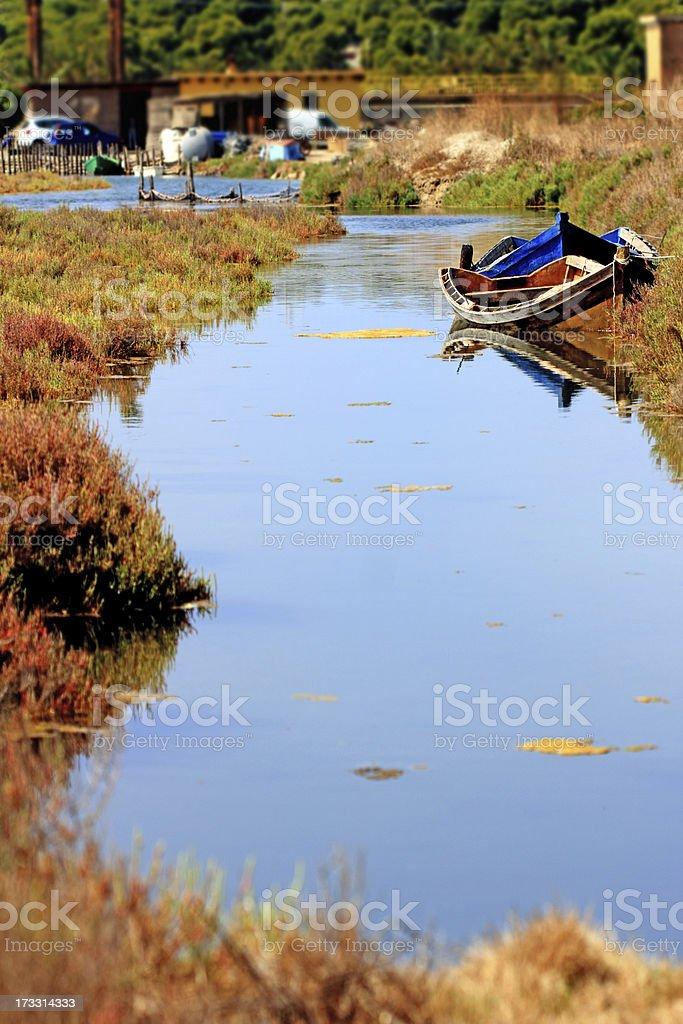 Porto Pino saltwater basins, Sardinia royalty-free stock photo