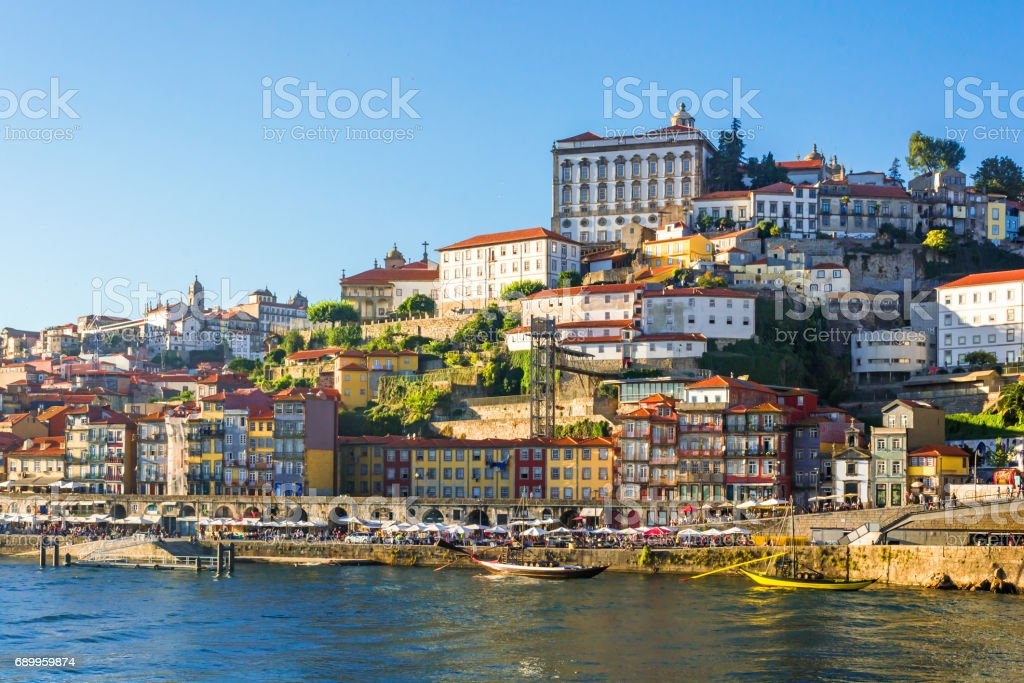 Porto, Portugal old town skyline stock photo