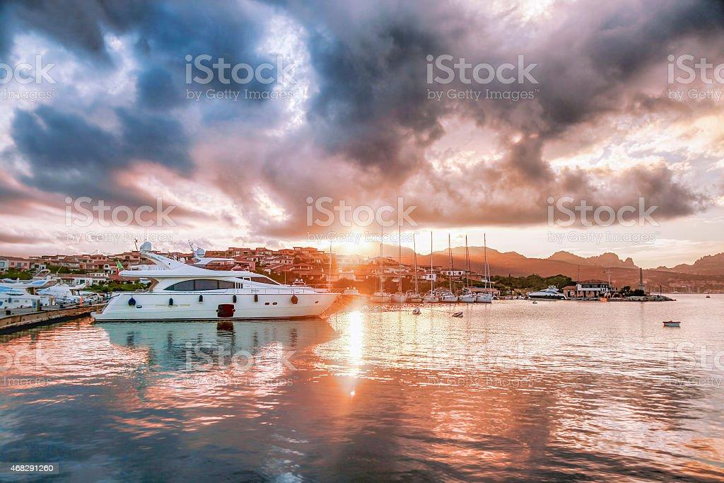 Porto Rotondo harbor in Sardinia, Costa Smeralda, Italy stock photo